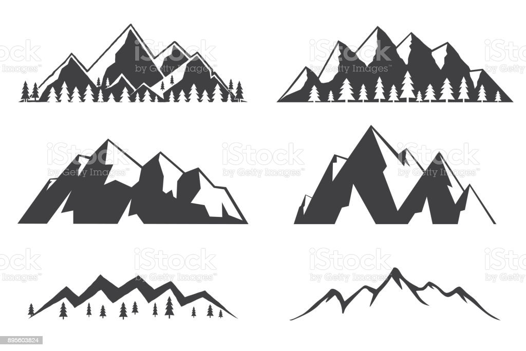 Set of mountains icons isolated on white background vector art illustration