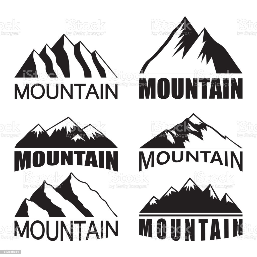 Set of mountains on the white background vector art illustration