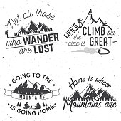 Set of Mountains related typographic quote
