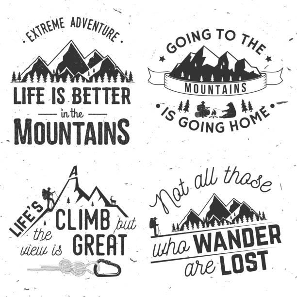 ilustrações de stock, clip art, desenhos animados e ícones de set of mountains related typographic quote - viagens anos 70
