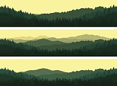 Set of mountains seamless backgrounds.