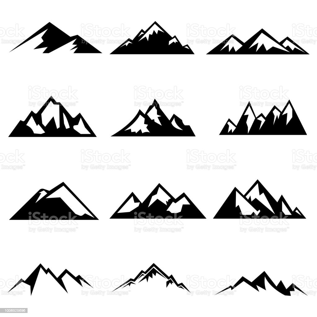 Conjunto de silhuetas de montanhas - Vetor de Abstrato royalty-free