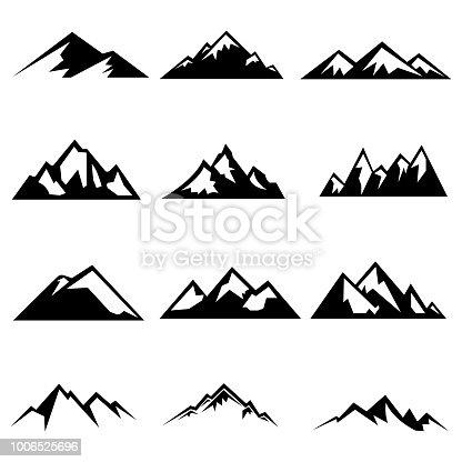 Conjunto de siluetas de las montañas