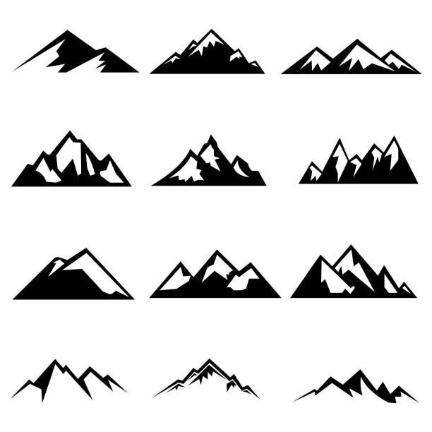 Set of mountains silhouettes Set of mountains silhouettes. Mockups for creating logo, badges and emblems. Vector illustration mountains stock illustrations