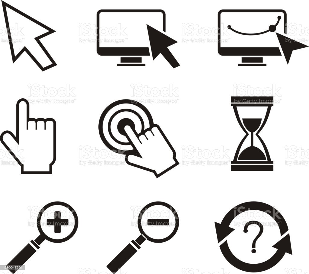 Set of mouse cursors hand cursor hourglass vector art illustration