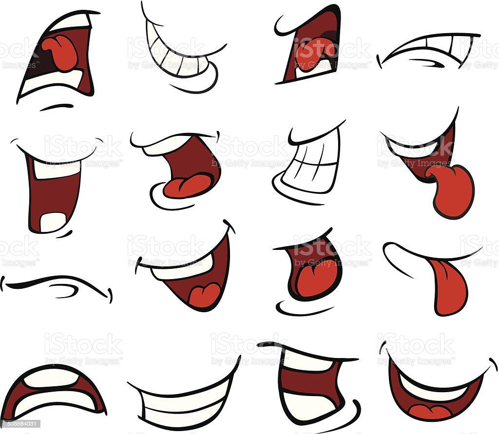 Set of mouths cartoon vector art illustration