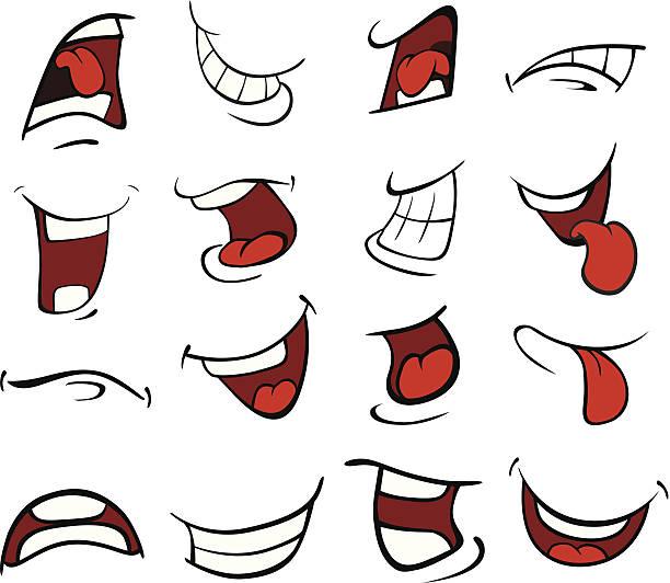 zestaw kreskówka ustnej - otwór gębowy stock illustrations
