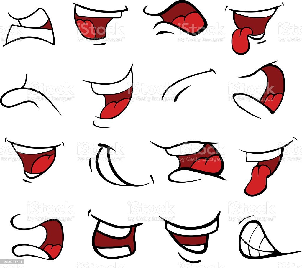 Set of mouths cartoon vector art illustration