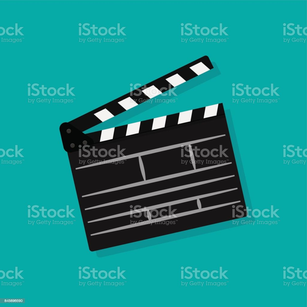 Set of movie clapperboard. Clapperboard icon. Movie production sign. Video movie clapper equipment. Filmmaking device. vector art illustration