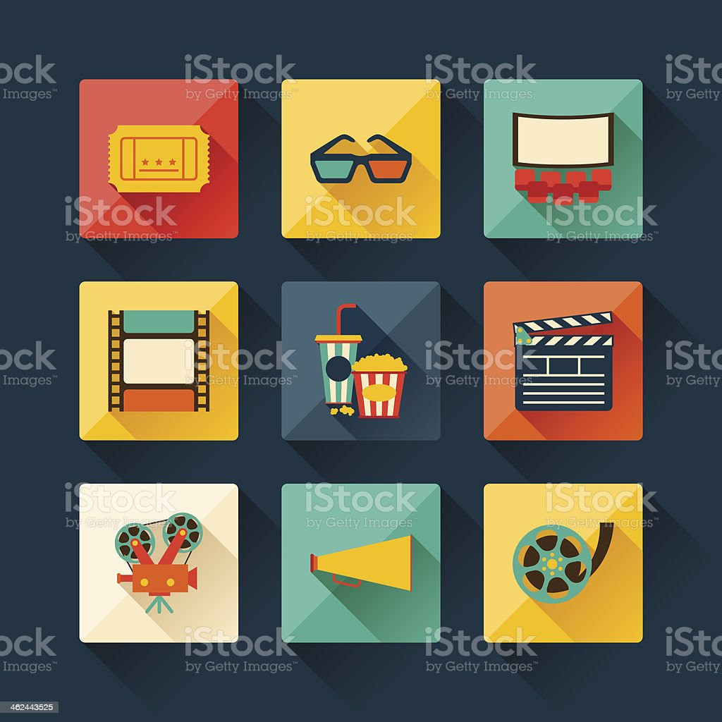 Set of movie design elements in flat style. vector art illustration