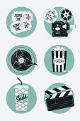 Set of movie entertainment roud icons