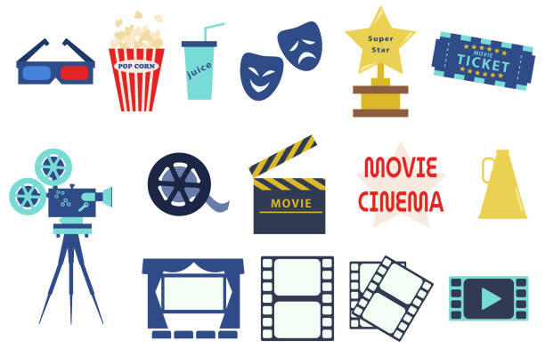 Set of movie icon materials vector art illustration