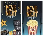 Set of Movie night party card