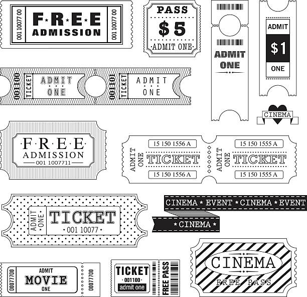 Set of Movie Tickets (Black and White) vector art illustration