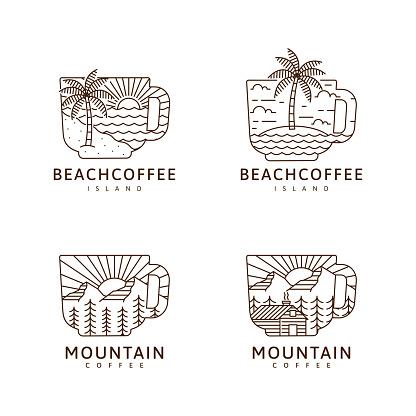 Set of mug and beach, island, mountain, cabin illustration monoline or line art style