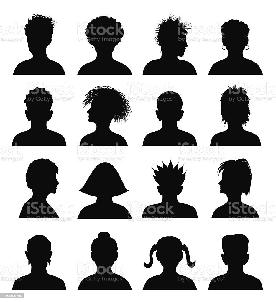 set of mugshots vector art illustration