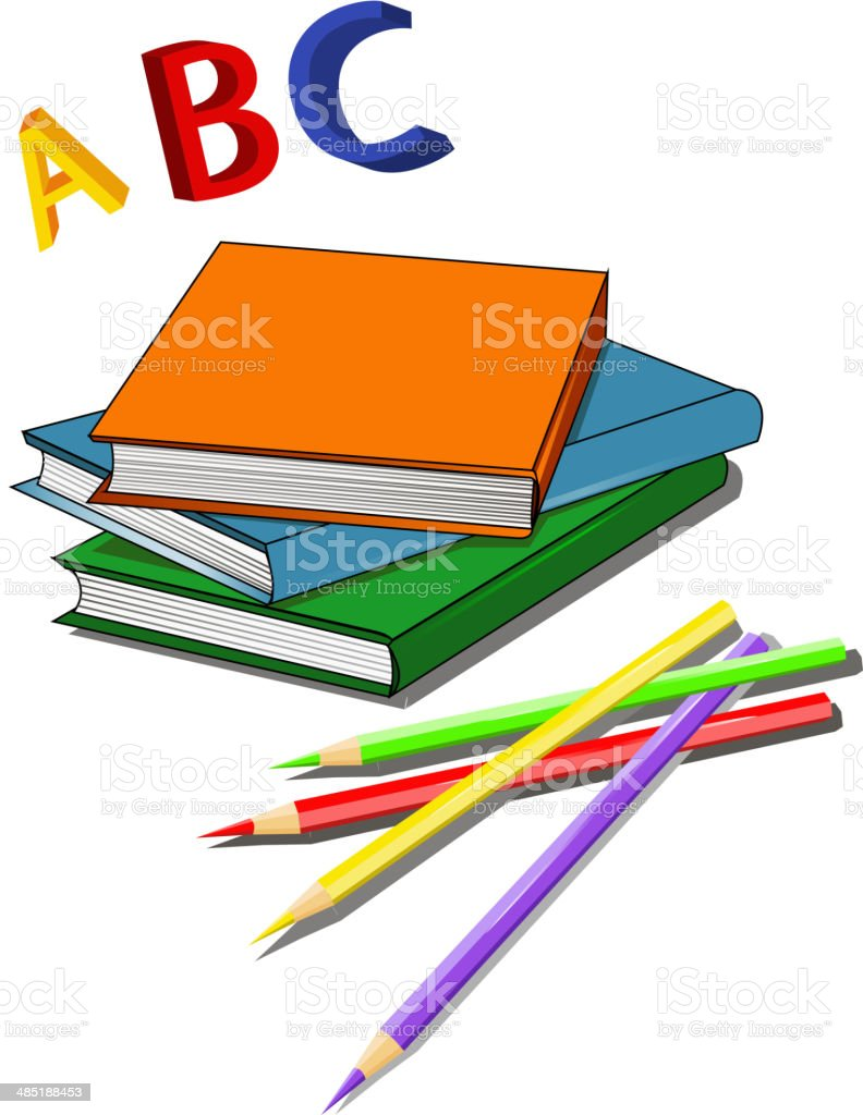 Set of multi colored books royalty-free stock vector art