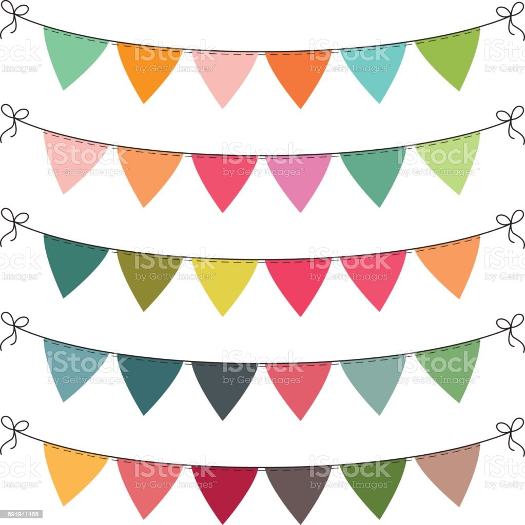 set of multi colored flat buntings garlands triangle flags
