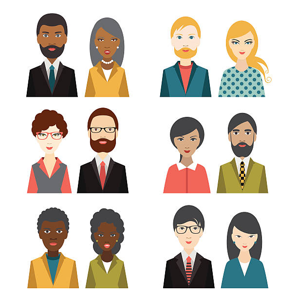 Set of multi cultural character heads. Flat illustration. vector art illustration