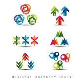 Set of multicolored abstract business icons