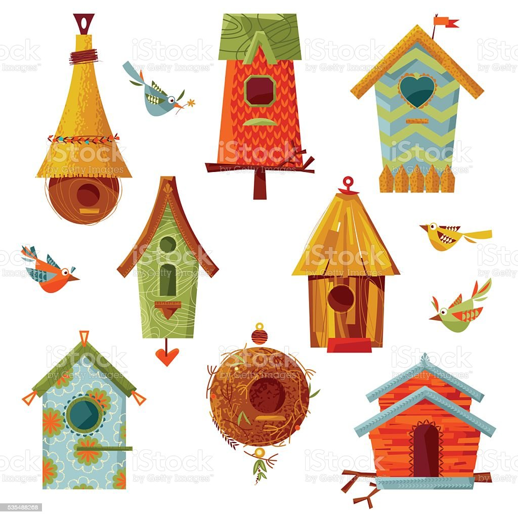 Set of multi-colored birdhouses of various shapes. vector art illustration