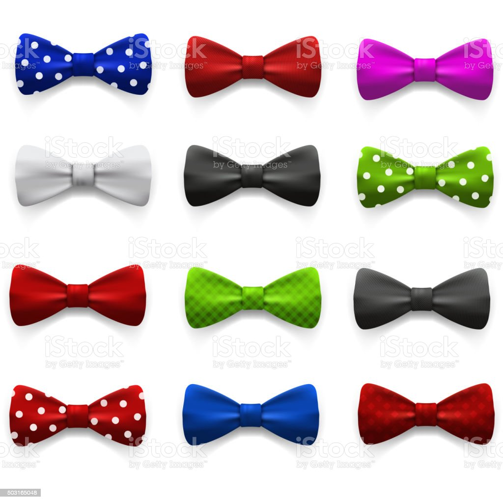 Set of multicolored bow tie. vector art illustration
