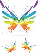 Set colorful butterflies on white background