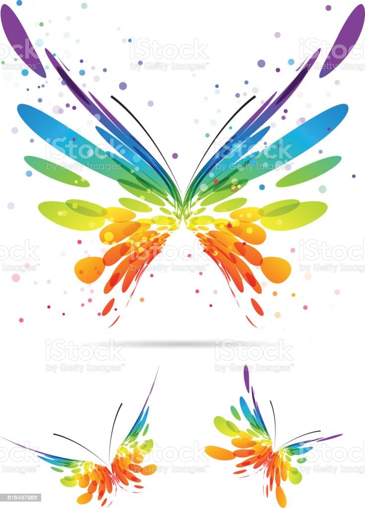Set of multicolored butterflies vector art illustration
