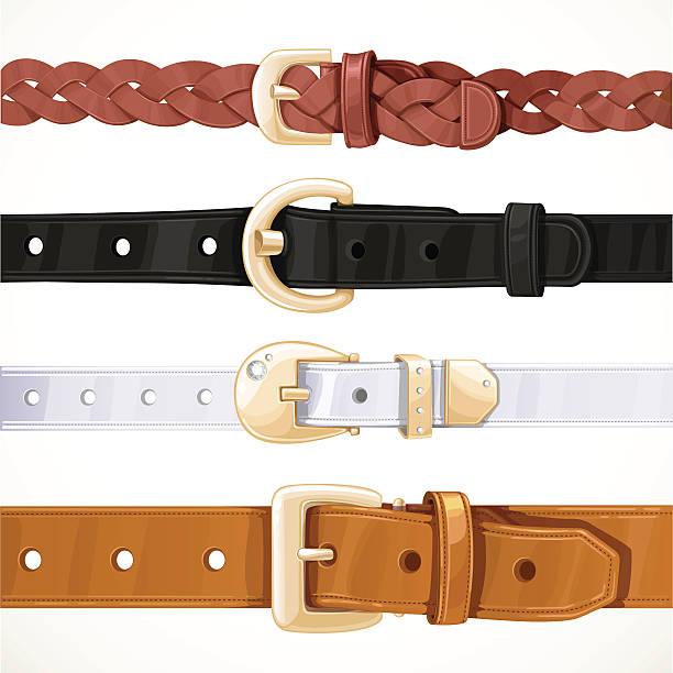set of multicolored buttoned to buckle belts - lederverarbeitung stock-grafiken, -clipart, -cartoons und -symbole