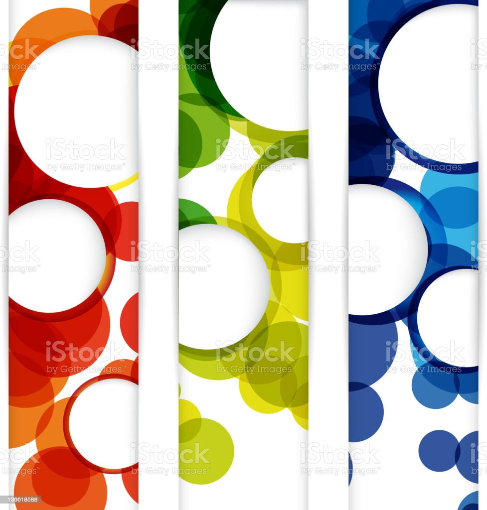 Set of Multicolored circular banners vector art illustration