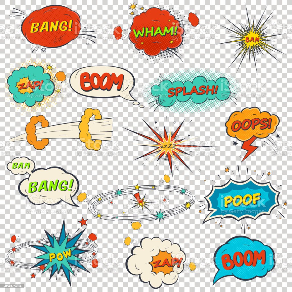 Set of multicolored comic sound effects vector art illustration