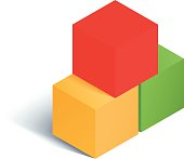 Set of multicolored cubes. Vector illustration