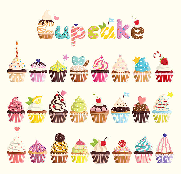 set of multicolored cute cupcakes. - cupcake stock illustrations, clip art, cartoons, & icons
