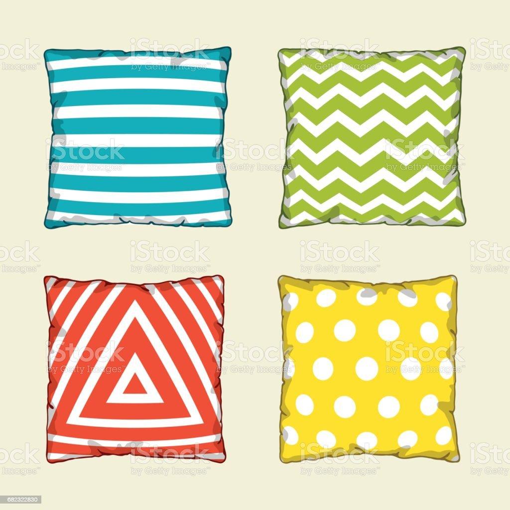 Set of multicolored decorative pillows. Sketch illustration vector art illustration