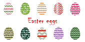 istock Set of multi-colored Easter eggs with patterns on a white background. 1194271940