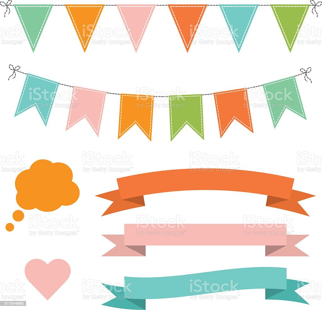 Set of multicolored flat buntings garlands, ribbons and speech bubble vector art illustration