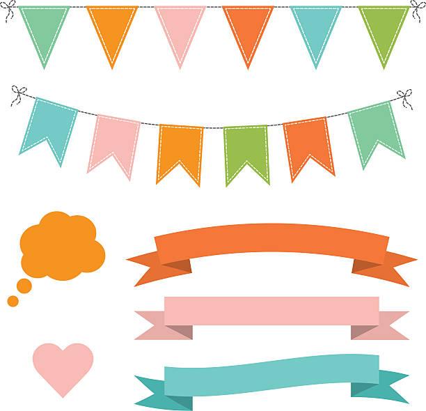 Conjunto de multicolorido TV buntings guirlandas, fitas e balão de diálogo - ilustração de arte em vetor
