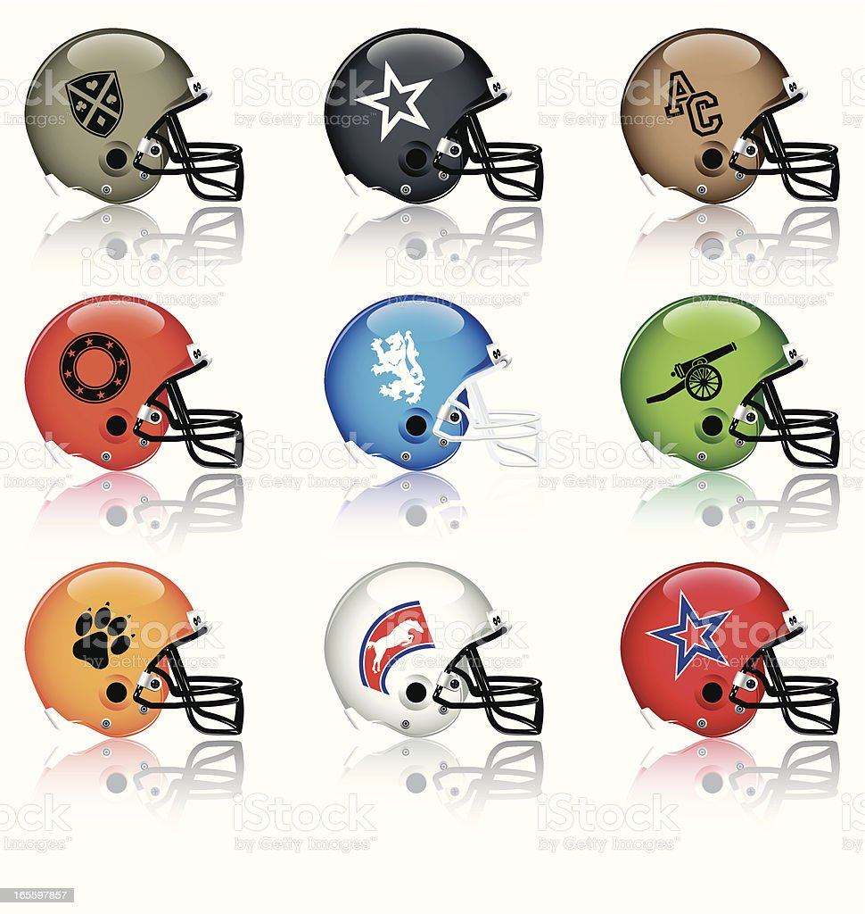 Set of multicolored football helmet icons of different teams royalty-free stock vector art