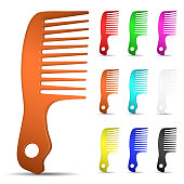 Set of multicolored hairbrushes