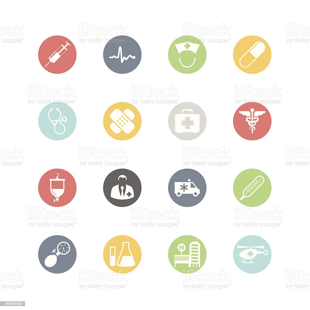 Set of multicolored medical and health icons vector art illustration