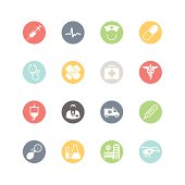 Set of multicolored medical and health icons