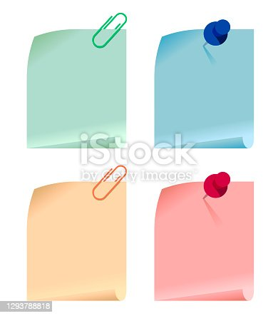 Set of multicolored paper cards attached with paper clip and pushpin to white surface. Vector illustration