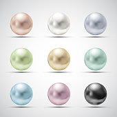 Set of multicolored pearls
