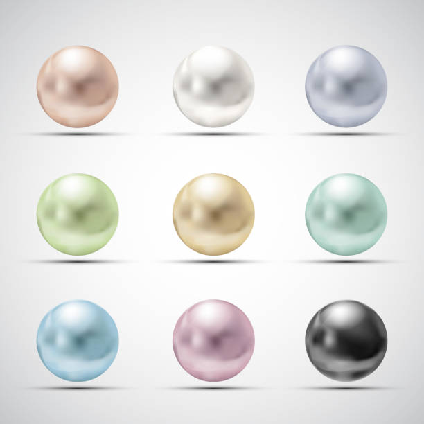 Set of multicolored pearls vector art illustration