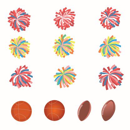 Set of multicolored pom-poms.