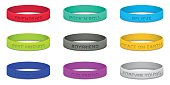 Set of multicolored rubber wristband. Vector illustration.
