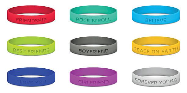 set of multicolored rubber wristband. vector illustration. - 橡膠 幅插畫檔、美工圖案、卡通及圖標