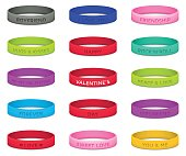 Set of multicolored rubber wristbands for Valentines Day. Vector illustration.