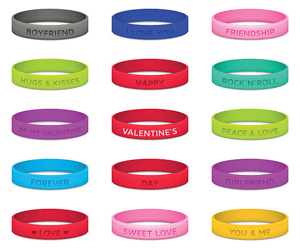 set of multicolored rubber wristbands for valentines day. vector illustration. - 橡膠 幅插畫檔、美工圖案、卡通及圖標