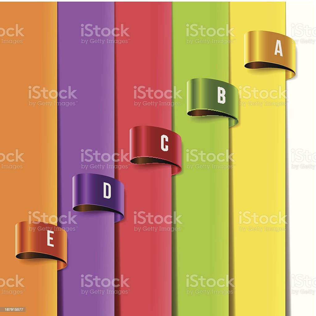 Set of multicolored tag labels vector art illustration